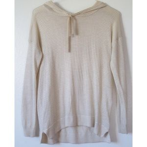 THIN KNIT TAN STRIPED HOODIE PULLOVER SWEATER